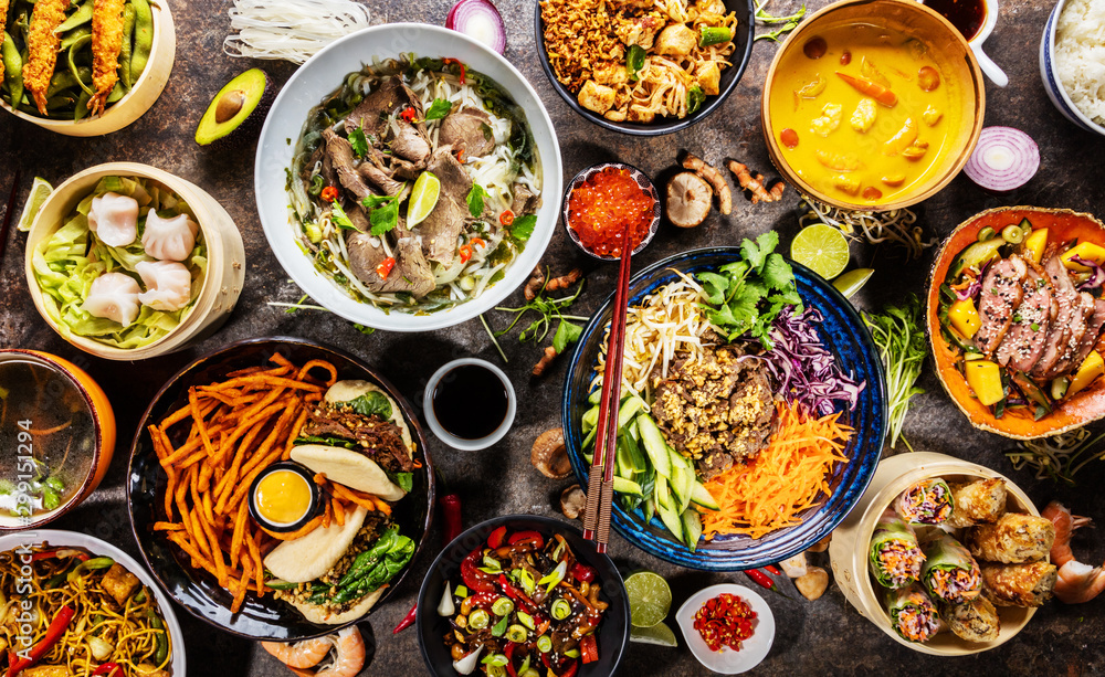 Fototapety, obrazy: Top view composition of various Asian food in bowl