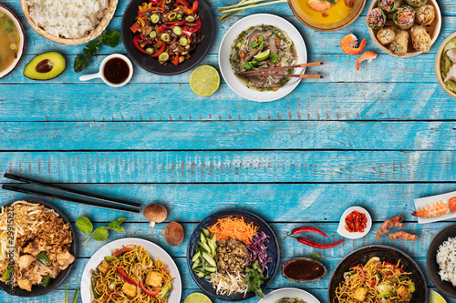 Top view composition of various Asian food in bowls Canvas Print