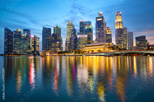 Singapore skyline with urban skyscrapers at dusk Canvas Print