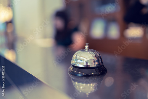 Welcome to the hotel,Hotel service bell Concept hotel, travel, room,Modern luxury hotel reception counter desk on background