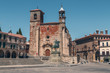 TRUJILLO, EXTREMADURA, SPAIN - AUGUST 08, 2019: Main square. Tourists in the architectural and monumental complex of the ancient and picturesque streets of Trujillo