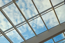 Glass Ceiling With Window. Squ...