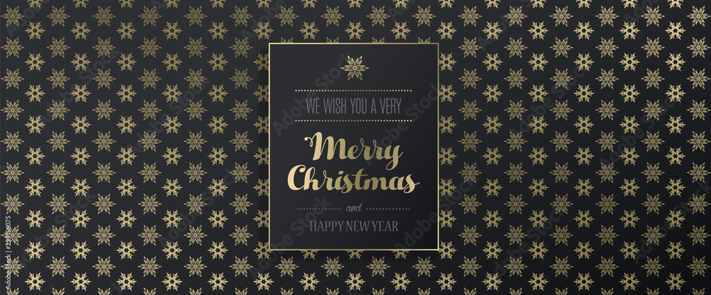 Fototapety, obrazy: Christmas golden vector background illustration with snowflakes and Merry Christmas text