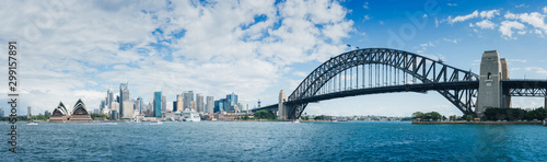 A large panorama of Habour Bay with views of city of Sydney, Opera House and Habour Bridge on a blue sky Canvas Print
