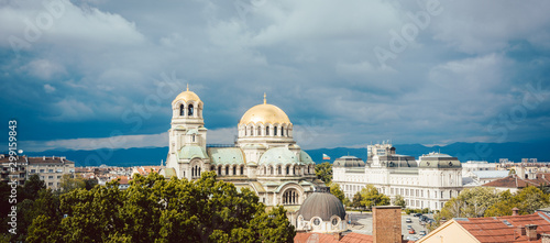 City view of Sofia, Bulgaria with Alexander Nevski Cathedral