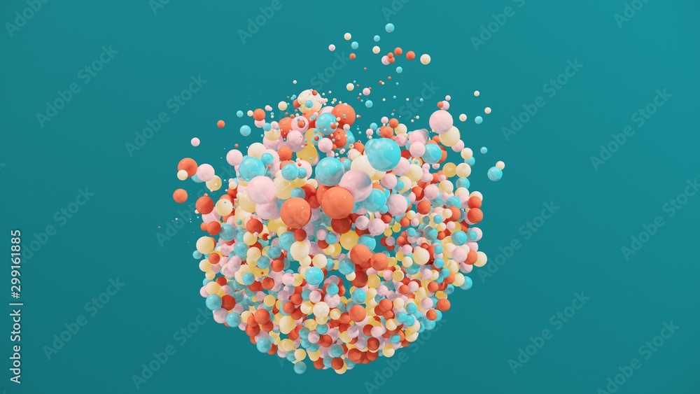 Fototapety, obrazy: Dynamic colorful bouncing balls for party, festival, celebration. Group of balls, bubbles on bright  background. Digital, trend, conceptual banner for children with copy space - 3D, render.
