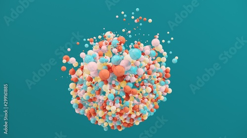 Stampa su Tela  Dynamic colorful bouncing balls for party, festival, celebration