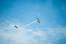 KRAKOW, POLAND - JUNE 23, 2019: Air Acrobatics Of  T-6 Harvard During Air Picnic Krakow, Poland.
