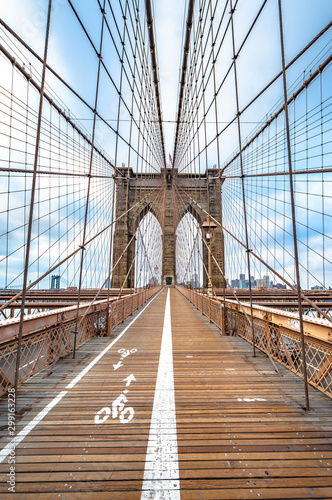 Brooklyn Bridge with nobody in cloudy day ,New York City ,USA Wallpaper Mural