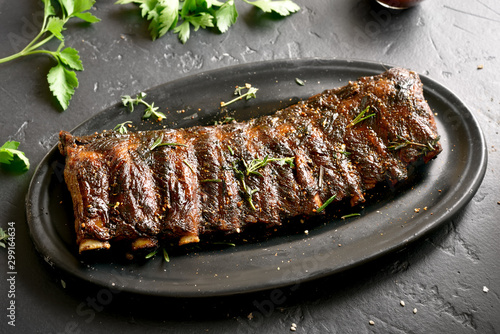 Fototapeta Spicy hot grilled spare ribs obraz