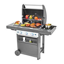 BBQ Grill With Food Isolated On White Background. Black Barbecue Gas Grill.BBQ Grillware Gas Grill. Outdoor Grill Table. Outdoor Cooking Station