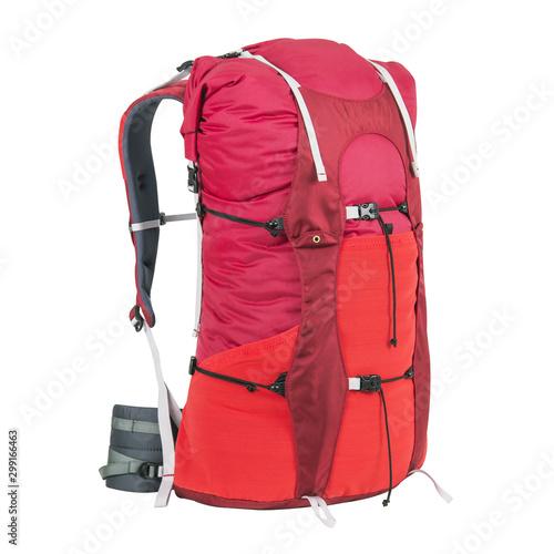 Fototapeta Rucksack Isolated on White Background. Trekking Rucksack. Travel Backpack. Climbing Bag. Bouldering Day Pack. Rope Bag obraz