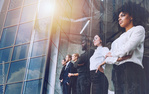 fototapeta na lodówkę Business people in front of window look far. Future vision, teamwork startup an partnership concept. Double exposure