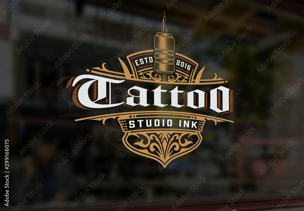 Fototapeta Vintage Tattoo Logo with Gold Elements