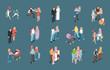 Family Isometric Icons Set