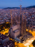 Barcelona, Spain - June 12, 2019: Temple Sagrada Familia at night from a drone. Barcelona