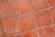 Terracotta Tiled Floor Background - Terracotta Tiles Closeup -