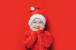 canvas print picture - little boy in Santa hat
