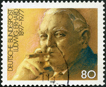 GERMANY - 1987: Shows Portrait Of Ludwig Wilhelm Erhard (1897-1977), Economist, Chancellor 1963-66, 1987