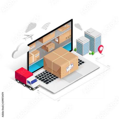Delivery isometric concept storage in laptop Wall mural