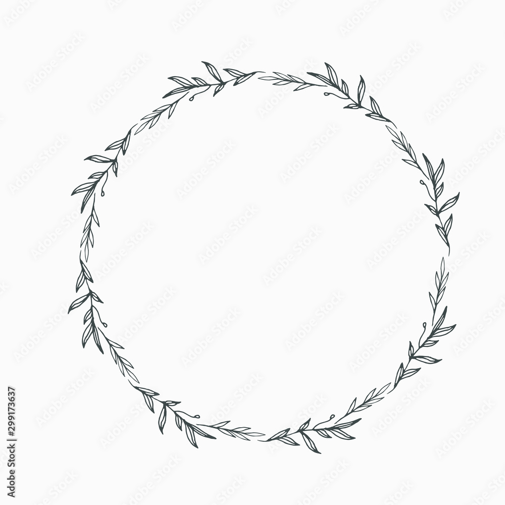Fototapety, obrazy: Elegant floral Decorative circle frame Border - For invitations, logos, graphic design. Wedding, celebration.