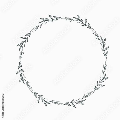 Obraz Elegant floral Decorative circle frame Border - For invitations, logos, graphic design. Wedding, celebration. - fototapety do salonu