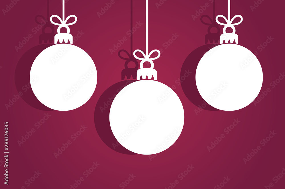 Fototapety, obrazy: Christmas baubles ornaments, white tags on purple background