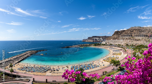 Landscape with Amadores beach on Gran Canaria, Spain