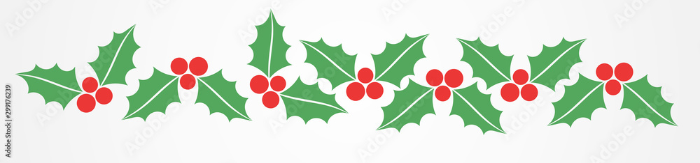 Fototapety, obrazy: Christmas holly berries border pattern.