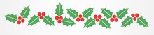 Christmas Holly Berries Border Pattern.