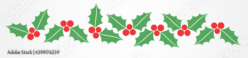Fototapeta Christmas holly berries border pattern. obraz