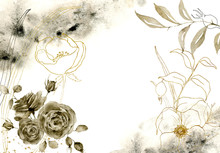 Watercolor Monochrome Floral C...