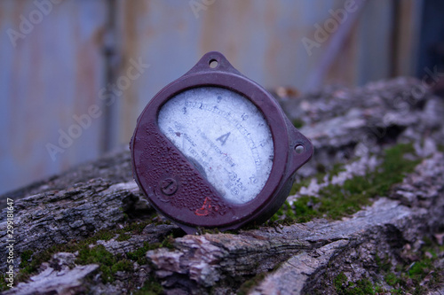 Close up of analog ammeter on the wood background Canvas Print