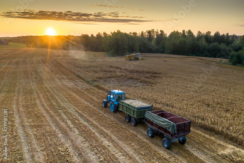 View from above. Combine harvester. Agricultural landscape.