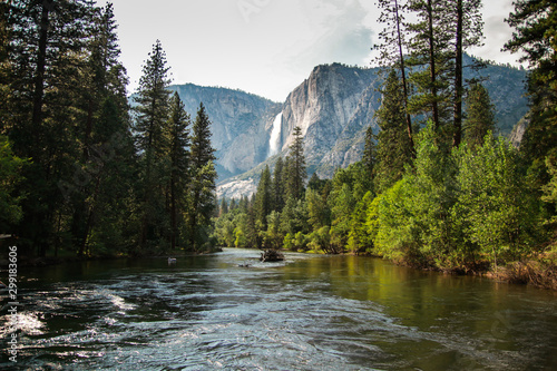 View of Yosemite Falls from the bridge above Merced River in Yosemite Valley National Park, California, USA Wallpaper Mural
