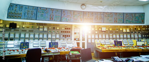 Fotomural  Industrial control panel at the energy plant