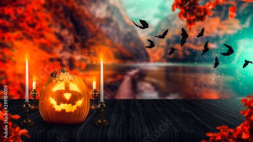 halloween pumpkin and bats horror night Wallpaper Mural
