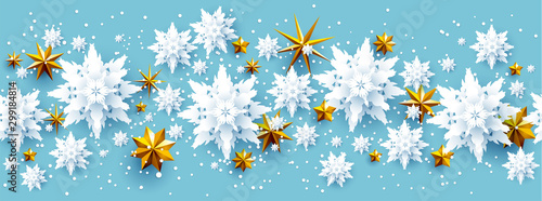 Wall mural - Realistic paper cut snowflakes and stars