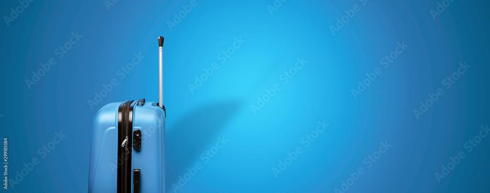 Fototapety, obrazy: blue travel suitcase over blue background, panoramic mock up image