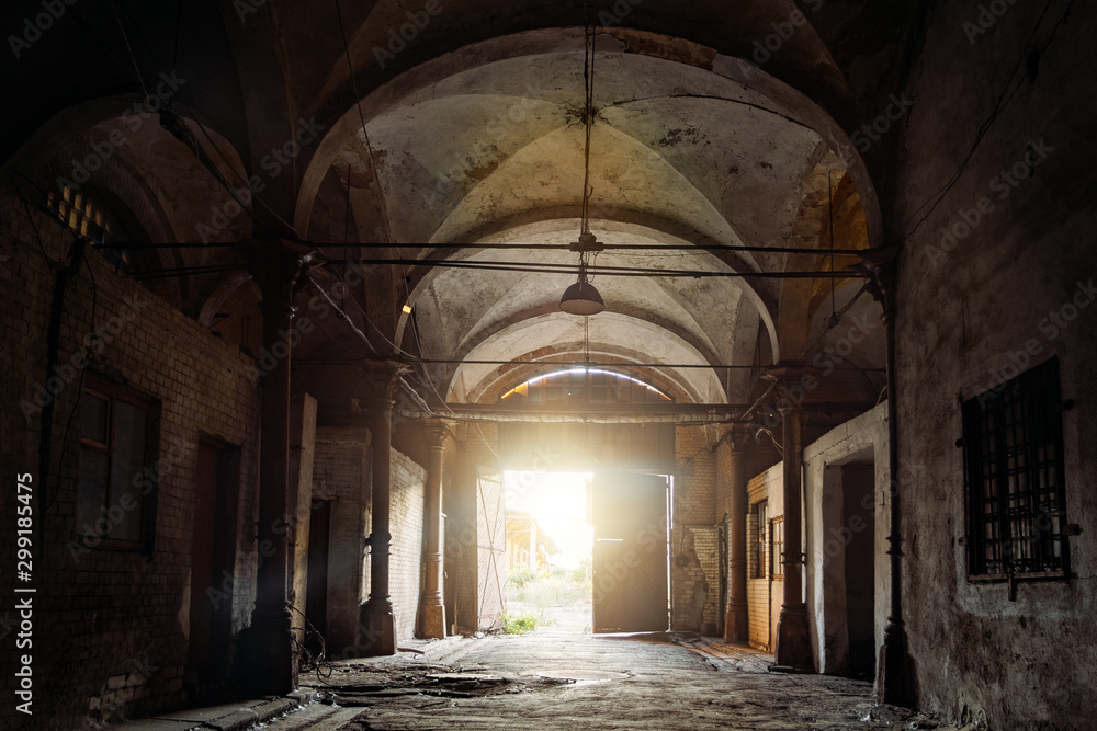 Fototapeta Old abandoned building with vaulted celling in Gothic style