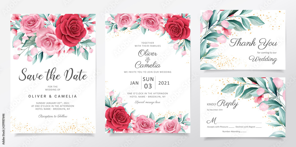 Fototapety, obrazy: Elegant wedding invitation card template set with watercolor flowers decoration. Botanic illustration background of peach and red roses and leaves for invites, greeting, save the date vector
