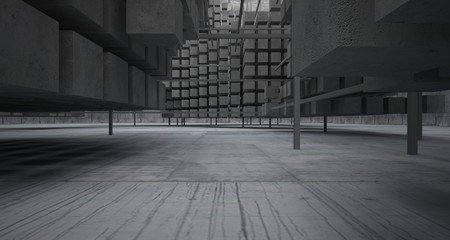 Abstract architectural concrete  interior  from an array of white cubes with large windows. 3D illustration and rendering.