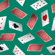 Realistic Detailed 3d Poker Card Seamless Pattern Background. Vector