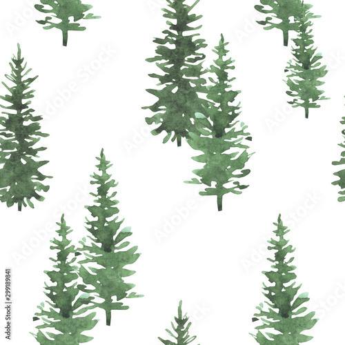 Tuinposter Kunstmatig Christmas trees watercolor hand drawn seamless background texture. Holidays isolated illustration. Can be used for wallpaper, wrapping, web design, textile and other.