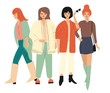 Four young women in autumn clothes standing and walking. Isolated on white. Flat vector illustration