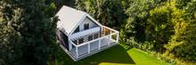 Modern House Exterior, Aerial Panorama