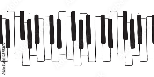 Fotografie, Obraz  Chaotic Pianoforte musical grand piano octaves, sketch drawing