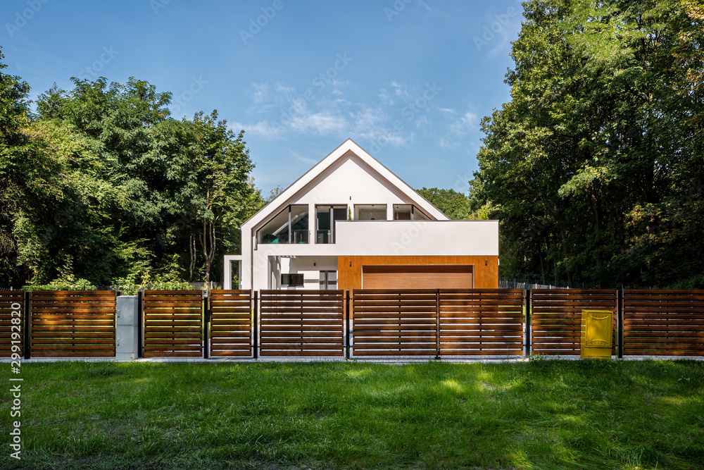 Fototapety, obrazy: Modern house surrounded by green