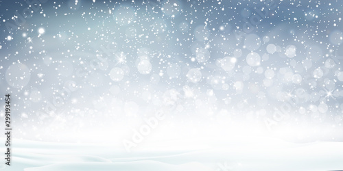 Montage in der Fensternische Weiß Christmas, Snowy landscape with shiny sun. Holiday winter landscape for Merry Christmas with Snowstorm, blizzard, firs, coniferous forest, snow, snowflakes. Christmas scene. Happy new year.