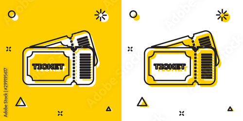 Fotografía  Black Ticket icon isolated on yellow and white background